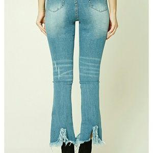 Forever 21 Distressed Hem Jeans